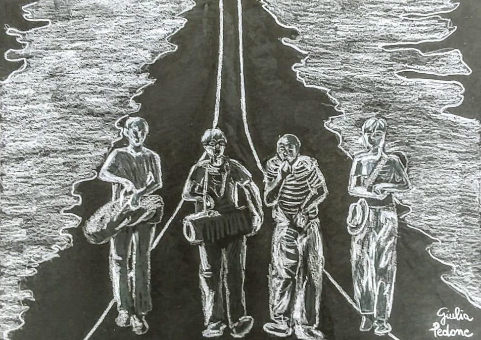 Disegno di Giulia Pedone per l'articolo di Alessandro Crea, Paure e scoperte di sé in un romanzo di formazione di Stephen King.