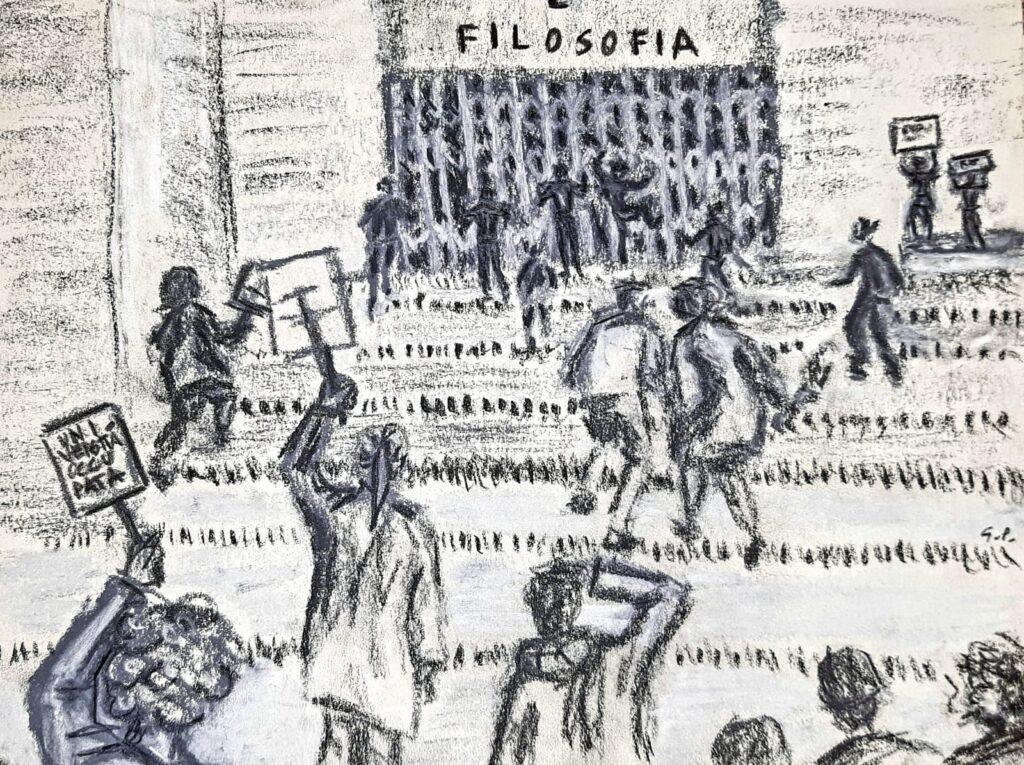 """Disegno per l'articolo di Alessandro Crea: """"La banda Bellini di Marco Philopat: Andiamo? Sì, andiamo!"""""""