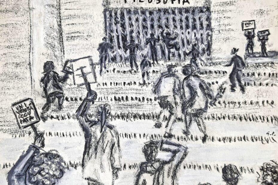 """Disegno per articolo di Alessandro Crea: """"La banda Bellini di Marco Philopat: andiamo? Sì, andiamo!"""""""